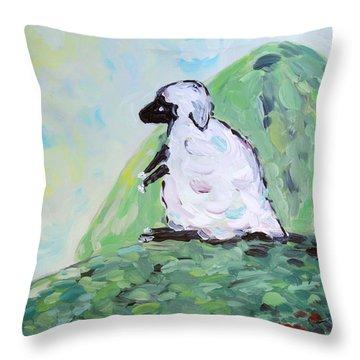 Sheep On A Hill Throw Pillow