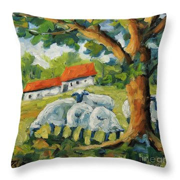 Sheep On The Farm Throw Pillow