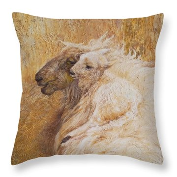 Sheep With A New Born Lamb Throw Pillow