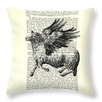 Sheep With Angel Wings Black And White  Throw Pillow