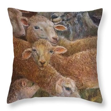 Sheep With Goats Throw Pillow
