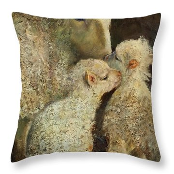 Sheep With Two Lambs Throw Pillow