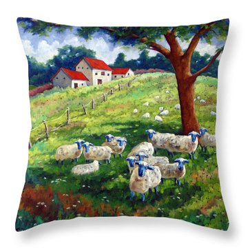 Sheeps In A Field Throw Pillow by Richard T Pranke