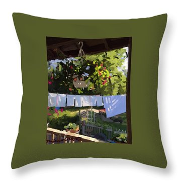 Sheets And Pillow Cases On The Line With Lantana Flowers Throw Pillow