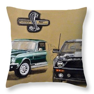 Throw Pillow featuring the painting Shelby 40th Anniversary by Richard Le Page