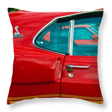 Red Shelby Mustang Side View Throw Pillow
