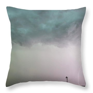 Shelf Cloud And Windmill -05 Throw Pillow by Rob Graham