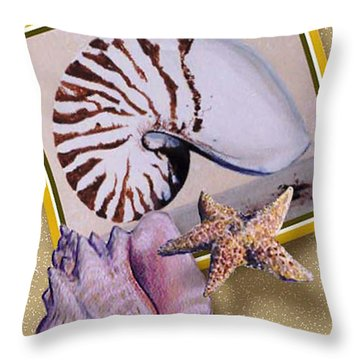 Shell Collage Throw Pillow