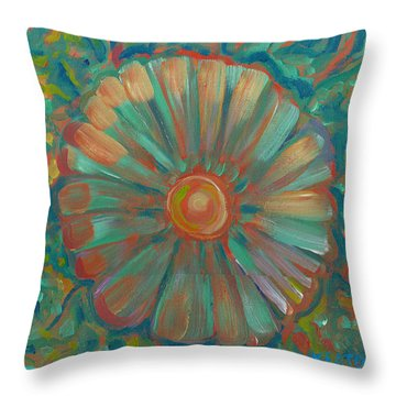 Throw Pillow featuring the painting Shell Flower by John Keaton