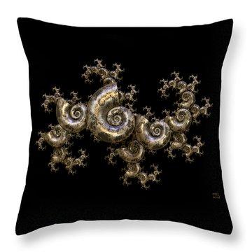 Shell Fractal Dragon Throw Pillow