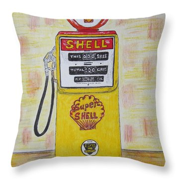 Throw Pillow featuring the painting Shell Gas Pump by Kathy Marrs Chandler