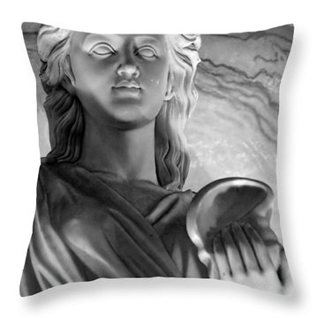 Shell In Hand B-w Throw Pillow by Christopher Holmes