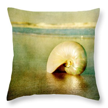 Shell In Sand Throw Pillow by Linda Olsen
