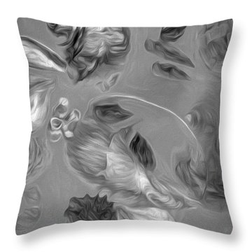 Throw Pillow featuring the mixed media Shell Medley In Pale Gray by Lynda Lehmann