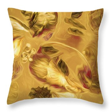 Throw Pillow featuring the mixed media Shell Medley In Yellow by Lynda Lehmann