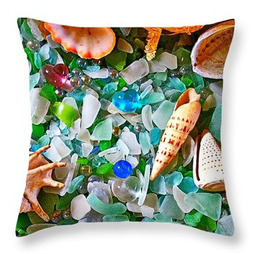 Shells And Glass Throw Pillow