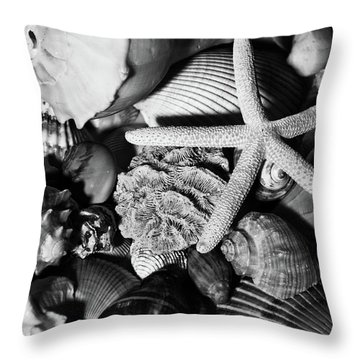 Throw Pillow featuring the photograph Shells And Starfish In Black And White by Angie Tirado