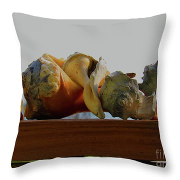 Shells Of The Sea In Orange And Gray Throw Pillow