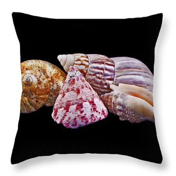 Throw Pillow featuring the photograph Shells On Black by Bill Barber