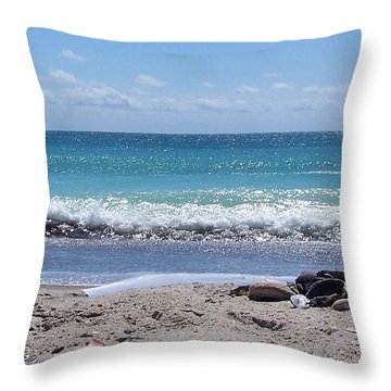 Throw Pillow featuring the photograph Shells On The Beach by Sandi OReilly