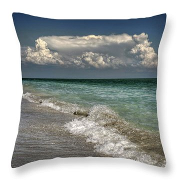 Throw Pillow featuring the photograph Shells, Surf And Summer Sky by Greg Mimbs