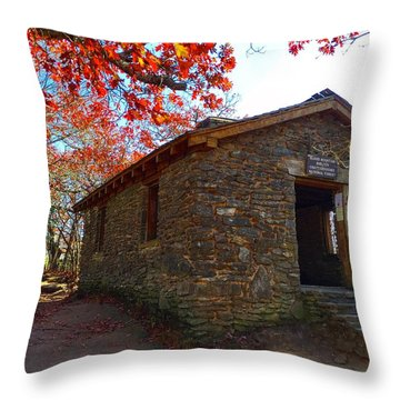 Blood Mountain Shelter Throw Pillow
