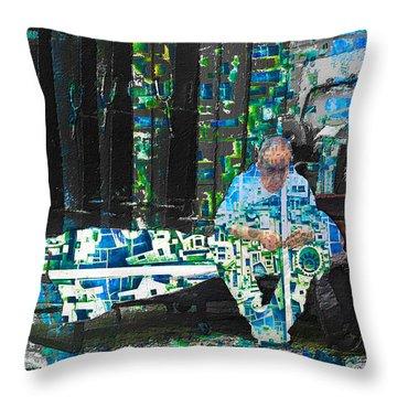Throw Pillow featuring the mixed media Shelter by Tony Rubino