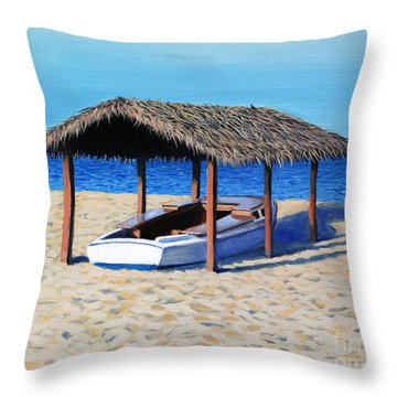 Sheltered Boat Throw Pillow by Paul Walsh