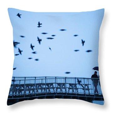 Sheltering Under An Umbrella Watching The Birds Throw Pillow