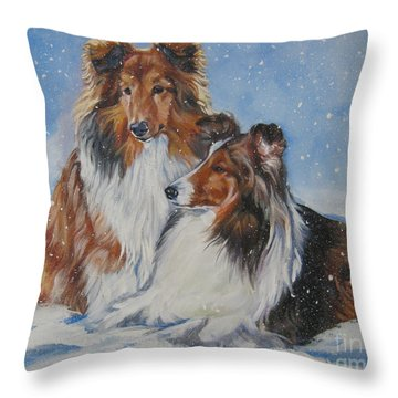 Sheltie Pair Throw Pillow by Lee Ann Shepard