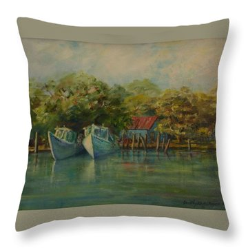 Shem Creek Boats Throw Pillow