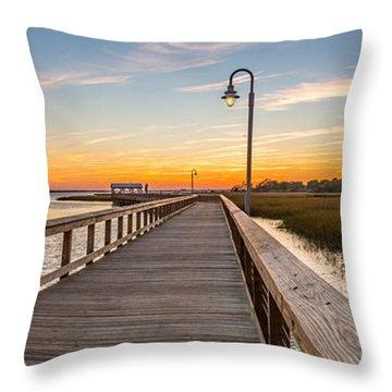 Shem Creek Pier Panoramic Throw Pillow