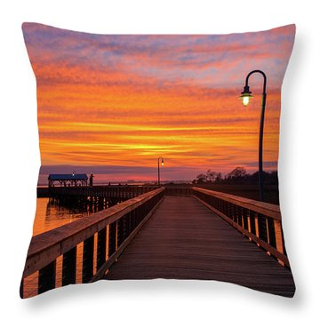 Shem Creek Pier Throw Pillow