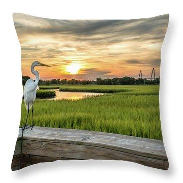 Shem Creek Pier Sunset Throw Pillow