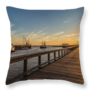 Shem Creek Pier Sunset - Mt. Pleasant Sc Throw Pillow