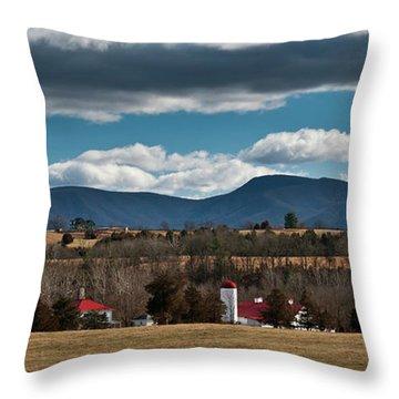 Throw Pillow featuring the photograph Shenandoah Valley Farm Winter Skies by Lara Ellis