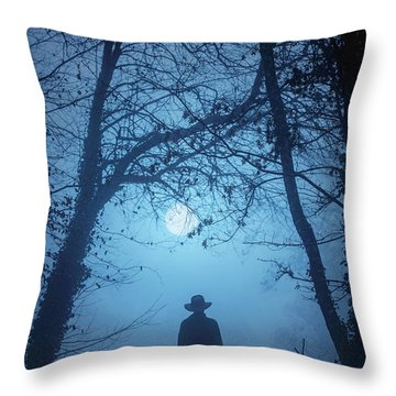 Shepherd And His Dogs Along The River Tamar Throw Pillow