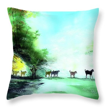 Throw Pillow featuring the painting Shepherd by Anil Nene