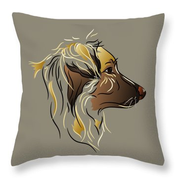 Throw Pillow featuring the digital art Shepherd Dog In Profile by MM Anderson