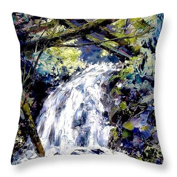 Shepherds Dell Falls Coumbia Gorge Or Throw Pillow