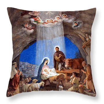 Shepherds Field Nativity Painting Throw Pillow
