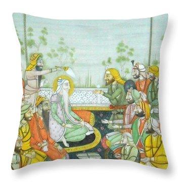 Sher A Punjab Sikh Maharaja Ranjit Singh Court Scene Miniature Painting Of India Watercolor Artwork Throw Pillow