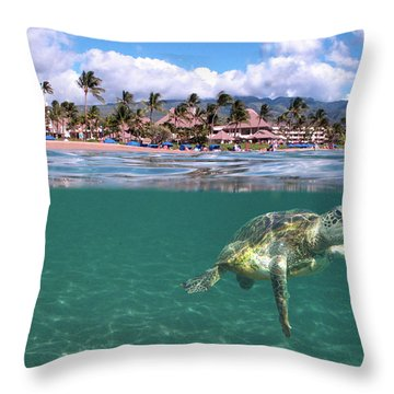 Sheraton Maui Throw Pillow by James Roemmling