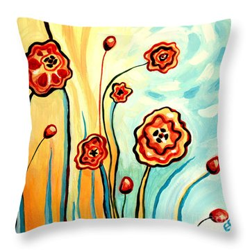 Sherbert And Powder Blue Skies Throw Pillow by Elizabeth Robinette Tyndall