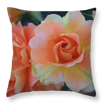 Sherbert Rose Throw Pillow by Marna Edwards Flavell