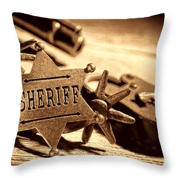 Sheriff Tools Throw Pillow by American West Legend By Olivier Le Queinec