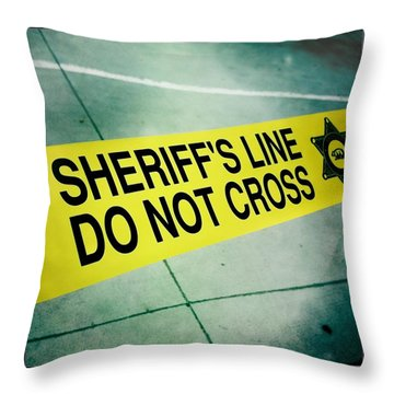 Sheriff's Line - Do Not Cross Throw Pillow by Nina Prommer