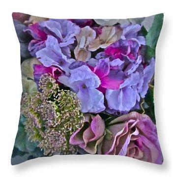 Sherry's Silks Throw Pillow by Gwyn Newcombe