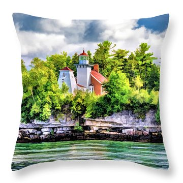 Throw Pillow featuring the painting Sherwood Point Lighthouse by Christopher Arndt