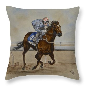 She's Taking The Lead ... Horserace Throw Pillow by Kelly Mills